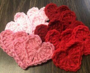NEW HANDMADE crochet Valentines Day Mini Hearts lot of 12 Red Heart yarn decor
