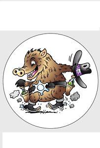 Aufkleber Wildschwein Sheriff Stern Pisten Schwein Sau Sticker Furs