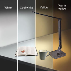 Details About 4 Mode Warm Yellow Cool White Led Table Lamp Bedside Reading Light Clock Usb New