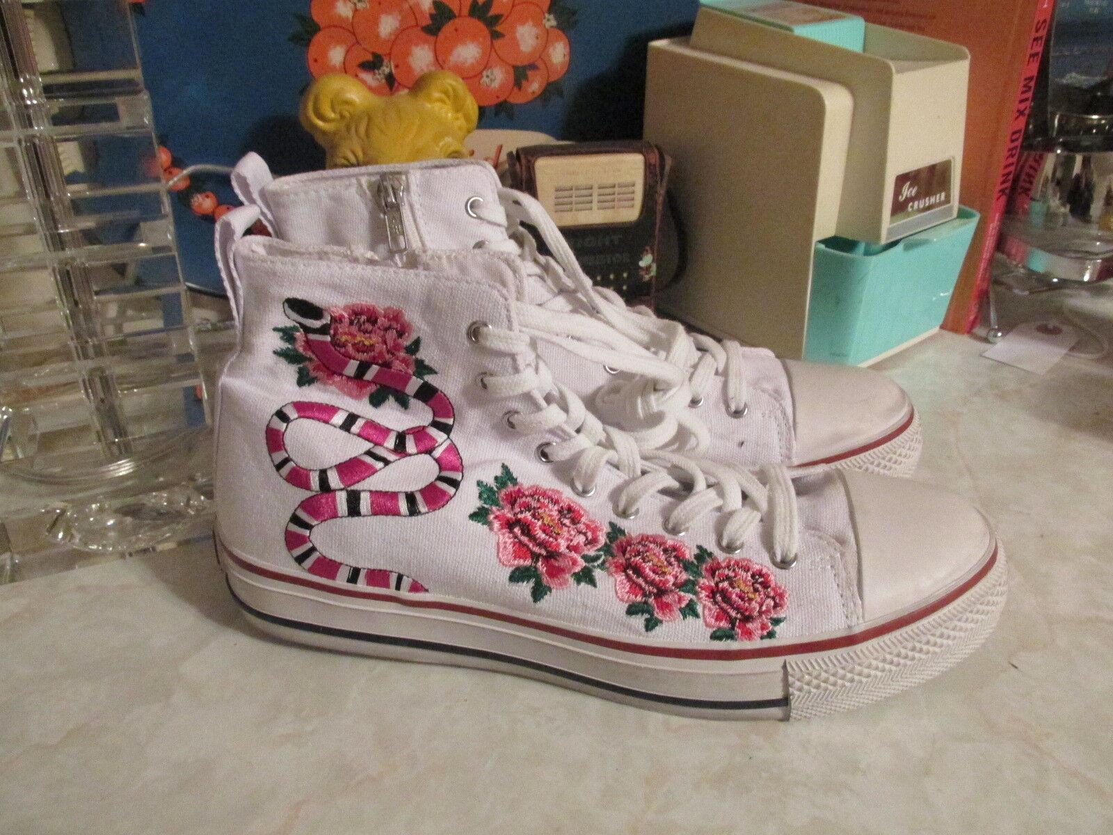 Ash Nak Bis White Appliqué Embellished Lace Up Hi Top  Sneakers  EU 41 US10.5 11