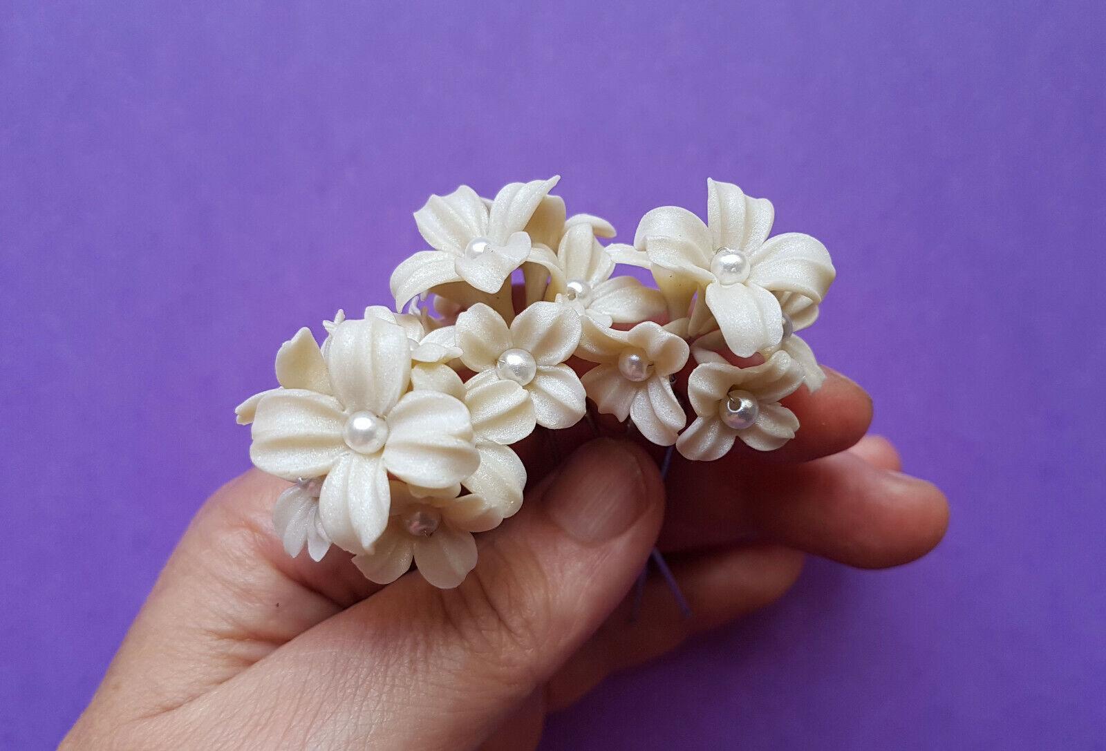 Horquillas Pompon blanco Marfil Flores Porcelana para peinado Tocado Novia bodas