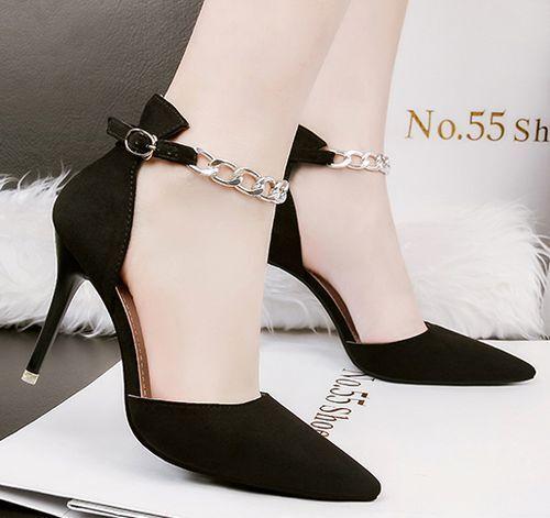 Pumps Sandale Stilett 9 cm komfortabel elegant schwarz Gurt simil Leder CW713