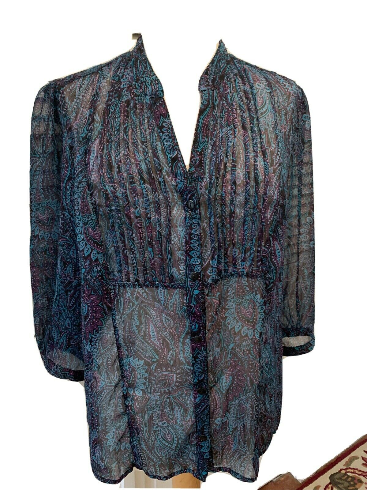 Christopher and banks women's blue paisley blouse… - image 1