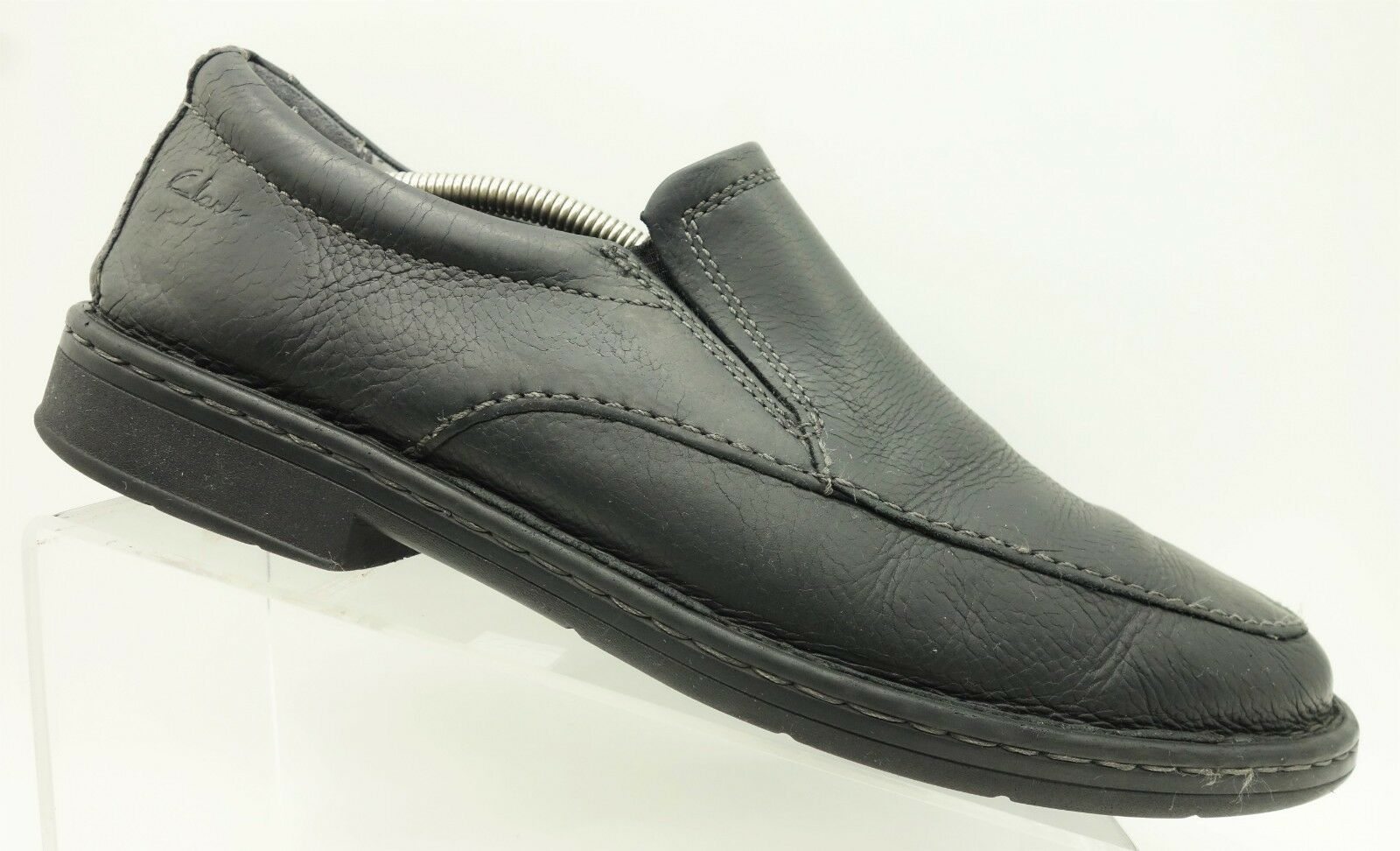 Clarks Wave Black Leather Casual Comfort Slip On Loafer shoes Men's 11.5 M