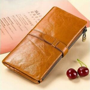 Women-039-s-Genuine-Leather-Long-Wallet-Money-Card-Holder-Clutch-Purse-RFID-Blocking