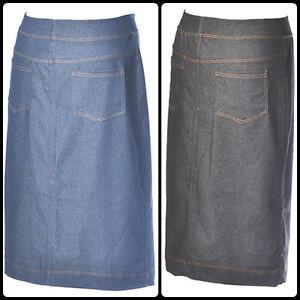 stretch denim pencil skirt modest comfortable below knee