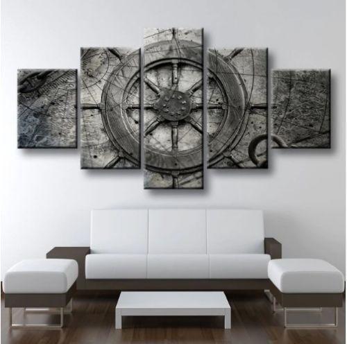 Nautical Wheel Rustic Ocean Framed Canvas Five Piece Wand Kunst 5 Panel Home Decor