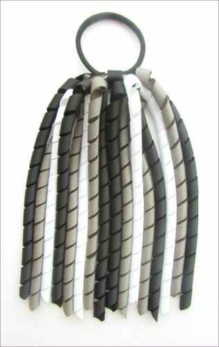 BLACK DARK GREY WHITE SCHOOL UNIFORM KORKER HAIR PONYTAIL BOBBLE CORKER STREAMER