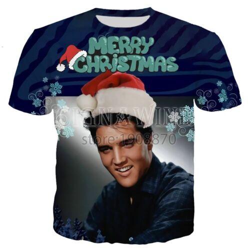 Fashion Womens//Mens Merry Christmas Elvis Presley 3D Print Casual T-Shirt Y185