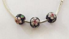 3 Cloisonne Charm Beads - Black/Flower - 10mm - For European/Charm Bracelet