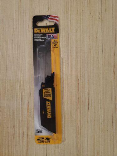 """Details about  /DeWALT 4/"""" 10 TPI Bi-Metal Reciprocating Saw Blades General Purpose Pack of 5"""