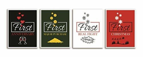 Set of 4 Wine Bottle Labels Wedding Gift Marriage Firsts Life Milestones