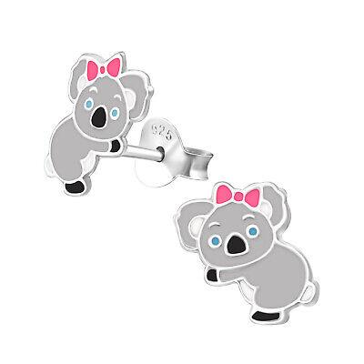 Candido Ragazze Koala Orso Con Fiocco Rosa Orecchini A Perno Argento Sterling-mostra Il Titolo Originale Long Performance Life