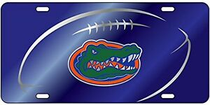 UF Gator Head License Plate Blue Florida Gators Mirrored Car Tag