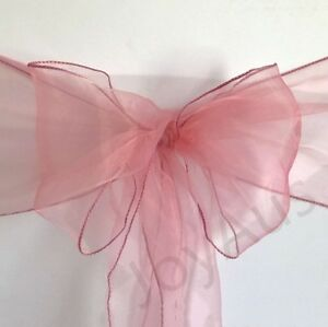 25x Dusty Pink Organza Chair Sashes Bows Sheer Ties