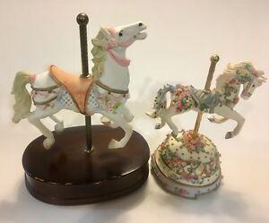 Lot Of 2 Music Box Carousel Horses 1 Is A San Francisco Music Box Ebay