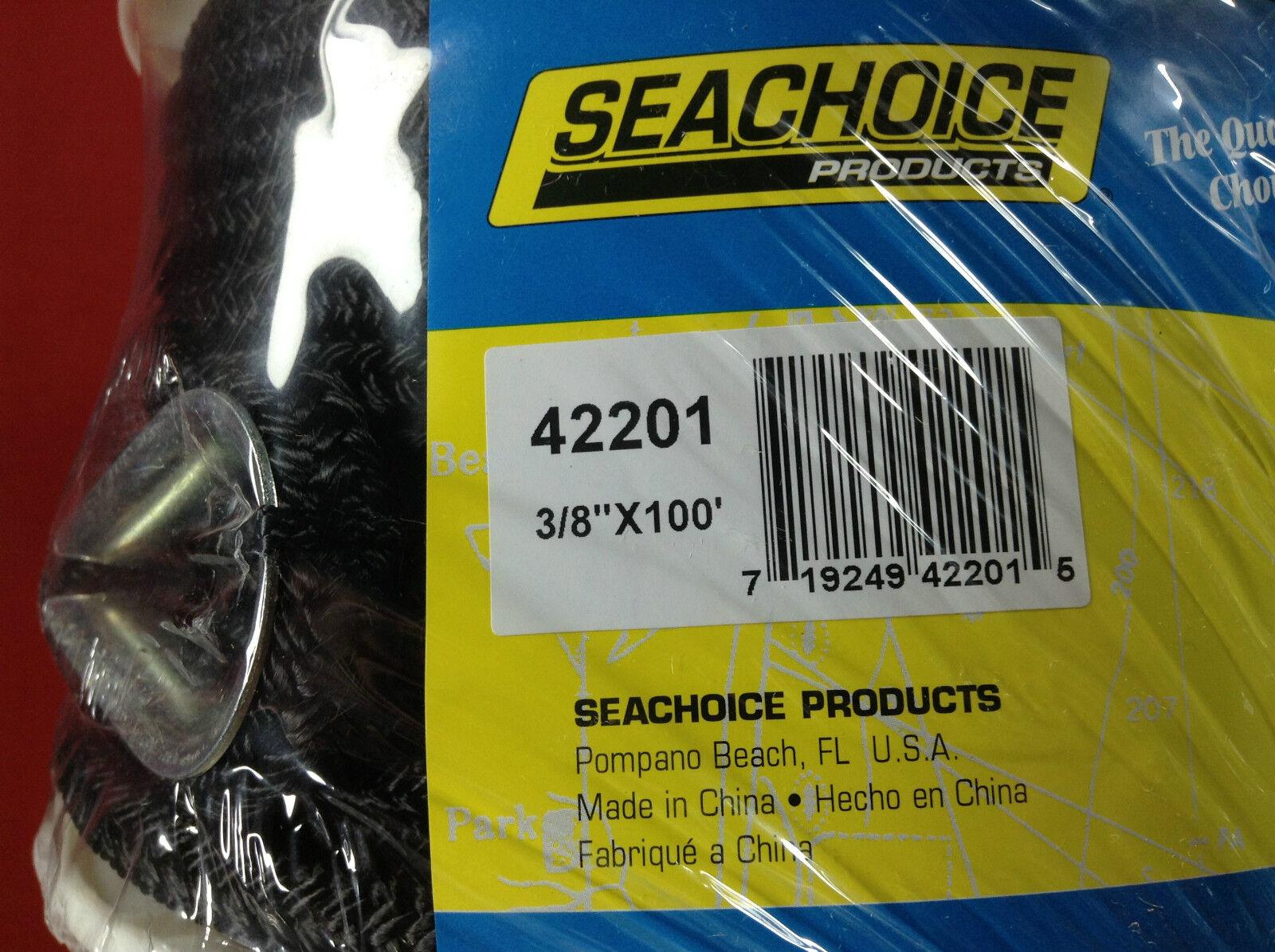 "Seachoice Double Braided Nylon Anchor Line Boat 3//8/"" x 100 FT Black 42201"