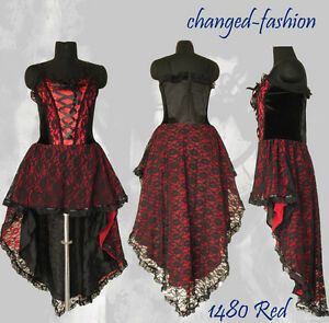 Corset Wedding Dress Gothic Prom Red Halloween Custom Made US Size ...