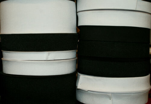 White and Black Flat 20 mm Wide Elastic