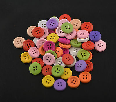 Lots Mixed 4Holes Wood Multicolor Buttons Craft Fit Sewing Scrapbook 15mm Random