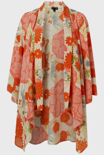 Topshop Oriental Floral Cream Multi Colour Silky Kimono Cover Up Size Small