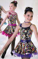 Sequin Skirted Dance Costume W/petticoat Foil Purple W/headpiece Girls Sizes