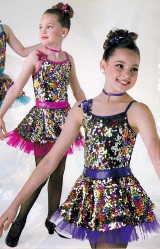 NEW Sequin Skirted Dance Costume w//petticoat Foil Purple w//headpiece Girls Sizes