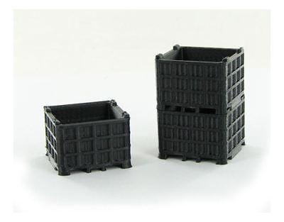 Black 3 Pack Model Sincere 3d To Scale 1/64 Scale Plastic Bin Pallet 64-252-bk Diversified In Packaging Bn