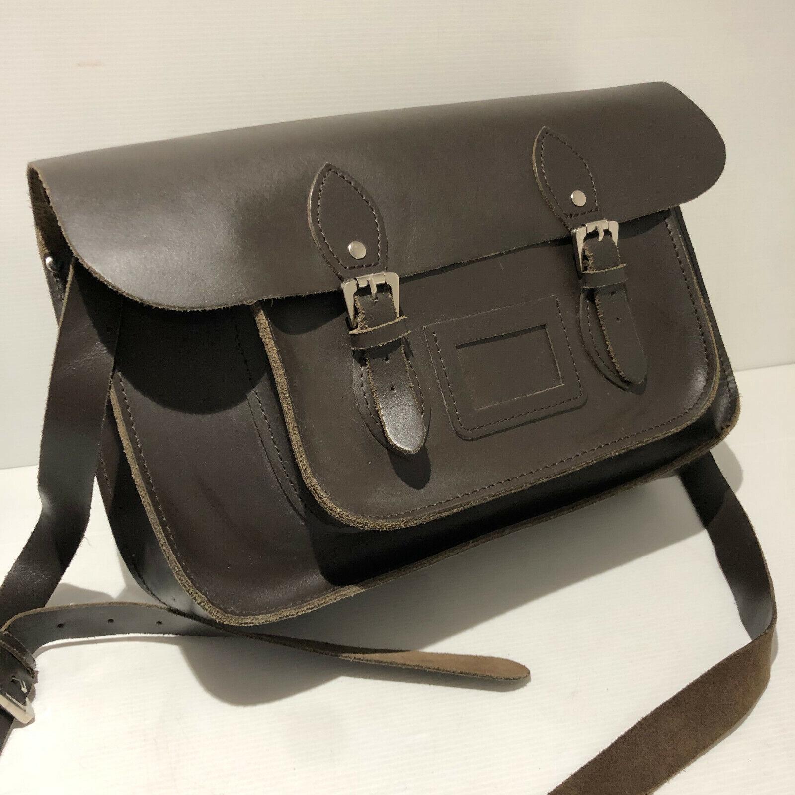 Vintage 80s large brown leather classic unisex satchel shoulder bag VGC uni