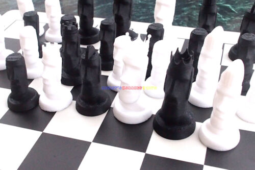 King 6.2cm Ht Pieces Only New Plastic Easter Island Moai Chess Set 32 Pieces