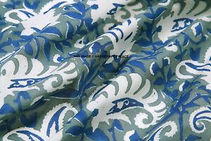 Indian-Natural-Cotton-Hand-Block-Printed-Floral-Sanganeri-Print-Fabric-By-yards
