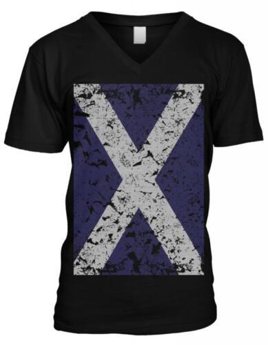 Scotland Flag Alba Scottish Pride St Andrew/'s Cross Saltire Mens V-neck T-shirt
