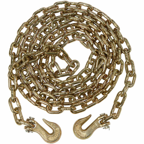 """Heavy Duty 5m 16ft Recovery Tow Towing Utility Farm Drag 3//8/"""" Chain with Hooks"""