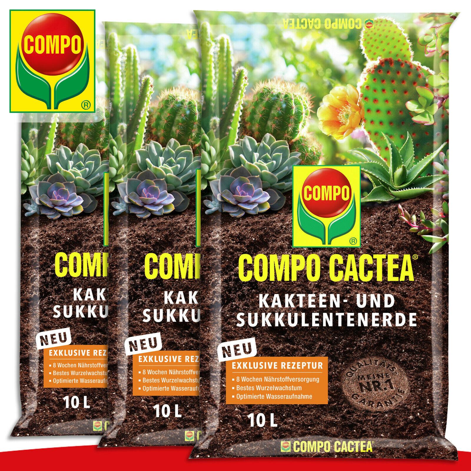 COMPO Cactea 3 x 10 L Cactus And Succulent Plant Soil Grower Growth Minerals