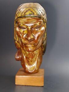 Peruvian-Hand-Carving-wood-Native-Indian-head-Folk-Art-statue-gilt-painted