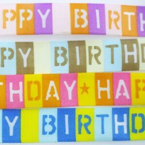 cakes 15mm 25mm gifts// craft White /& Rainbow Happy Birthday Ribbon