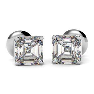 3e39a443c 0.70 Carat Asscher Cut Diamond Stud Earrings, UK Hallmarked 18k ...