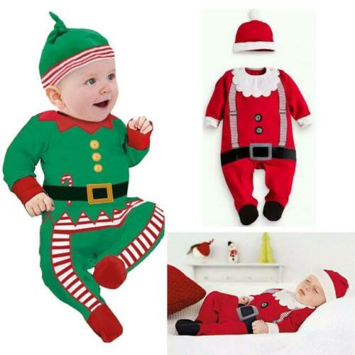 Baby Clothes Outfit Boy Girl Kid Romper Hat Cap Set Christmas Gifts Birthday NEW