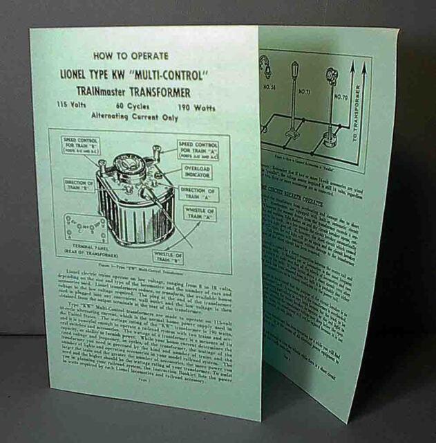 lionel transformer instructions