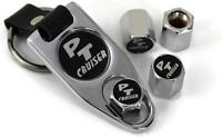 Pt Cruiser Logo On Black Background Tire Valve Caps Cover /w Key Chain Chrome