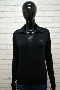 Polo-Nera-Donna-CALVIN-KLEIN-Taglia-M-Maglietta-Maglia-Manica-Lunga-Shirt-Woman