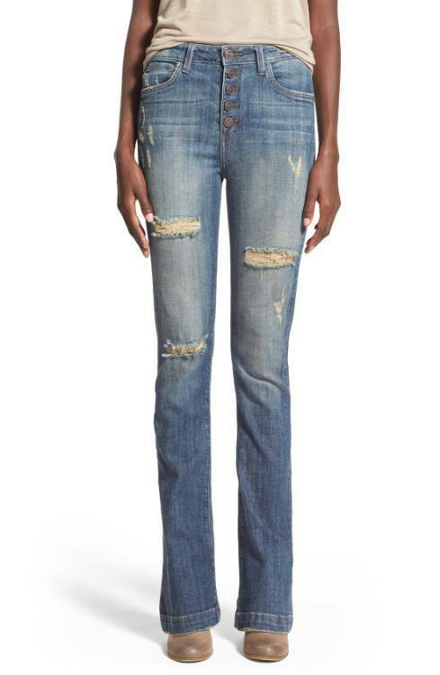 HART Denim Distressed NINA Button Down High Waist Bootcut Jeans - Size 25