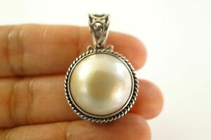 Round-White-Mabe-Pearl-Solitaire-Ornate-925-Sterling-Silver-Pendant