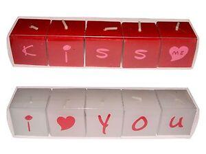 Mini-Wuerfelkerzen-5er-Set-Motiv-034-KISS-ME-034-oder-034-I-LOVE-YOU-034-rot-oder-weiss