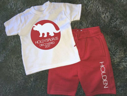 Personalised your name asaurus year kids dino dinosaur  discovered shorts an