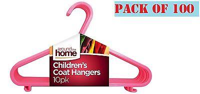 Mettere In Guardia 100 X Bambini Bambini Plastica Appendini Per Neonate Vestiti Bucato Appendiabito Rosa-mostra Il Titolo Originale