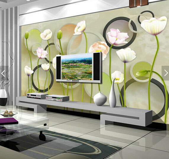 3D Round Ring Lotus 8 Wall Paper Murals Wall Print Wall Wallpaper Mural AU Lemon