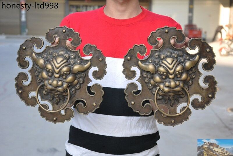 Collectables Old Bronze Fierce Fu Foo Dog Lion Head Door Knocker
