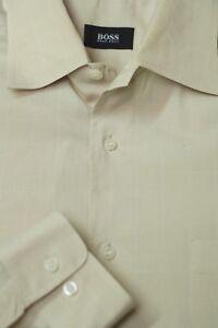 Hugo-Boss-Men-039-s-Light-Beige-Check-Luxury-Cotton-Dress-Shirt-16-x-35
