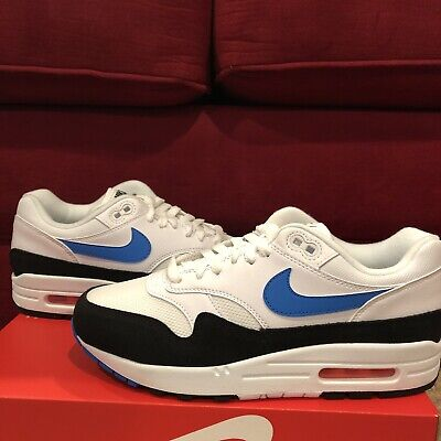 Nike Air Max 1 White Photo Blue Black Orange AH8145 112 Men's Size 7 192499371430 | eBay